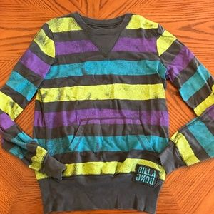 Billabong Grey Blue Striped Pullover Sweater
